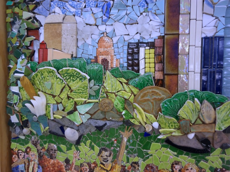 mosaic art panel, The Feeding of the Five Thousand, being created by Lynn Bridge and friends and members of University Presbyterian Church in Austin, Texas, U.S.A.